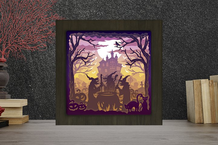 Halloween 11 3D Paper Cut Light Box - Shadow box