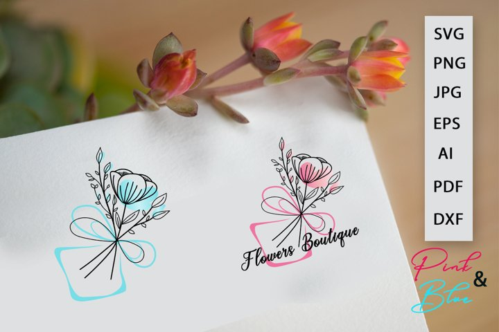 Bouquet flowers Vector Logo Pink and Blue, EPS, PNG, SVG