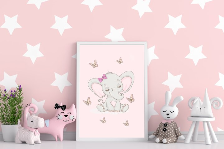 Baby Elephant Printable Wall Art, Nursery decor for girl