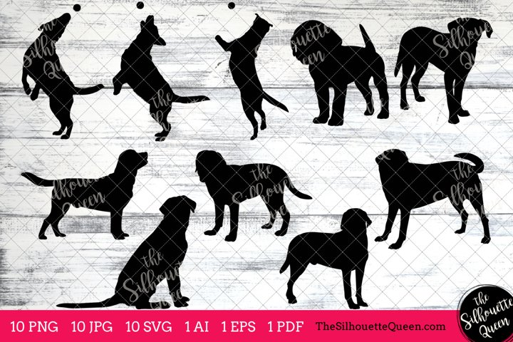 Labrador Retriever Dog Silhouette Clipart Clip Art (AI, EPS, SVGs, JPGs, PNGs, PDF) ,  Clipart Vectors - Commercial and Personal Use