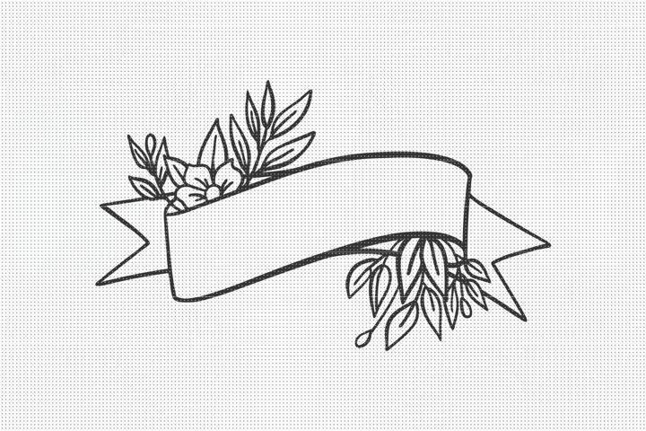 SVG Files, Floral Banner SVG, Floral SVG File, SVG Cut File