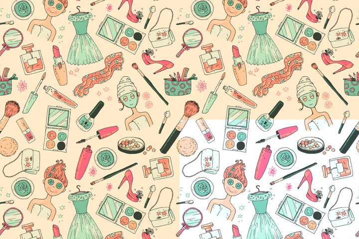 Doodle cosmetics, fashion, spa and beauty. Vector. - Free Design of The Week Design0