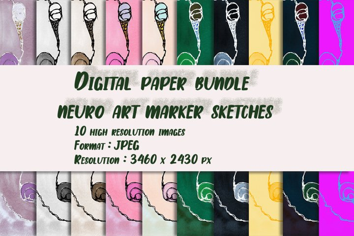 Digital paper bundle neuro art marker sketches Sweet life