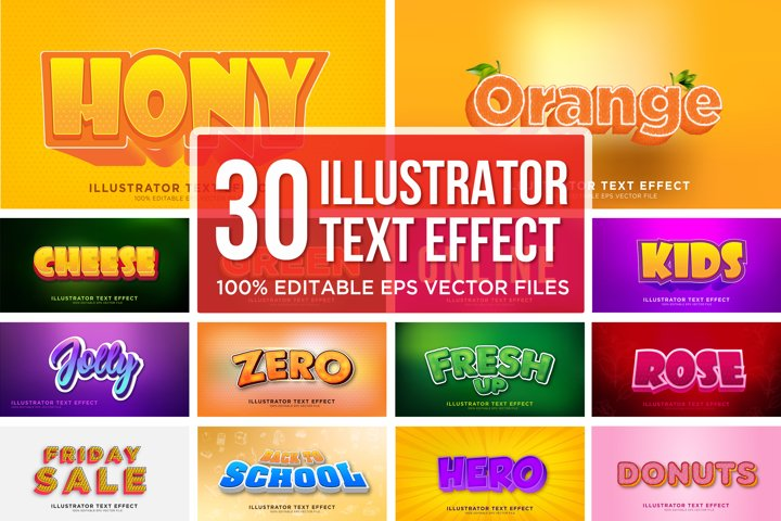 30 Text Effect Design Illustrator Layer Style Effect