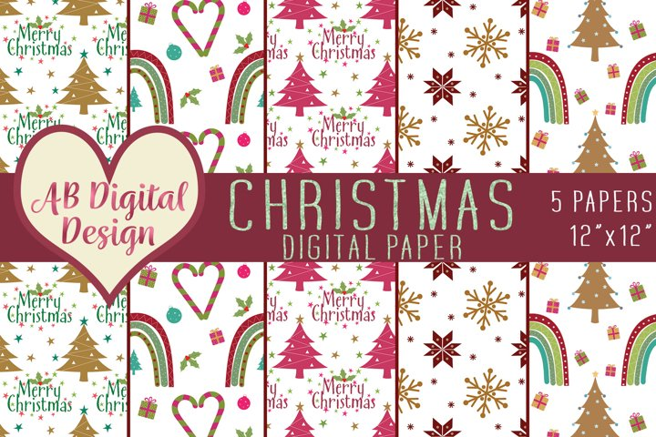 Cute Christmas Digital Paper Backgrounds, Christmas Rainbows