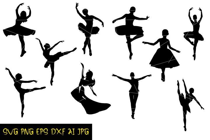 Ballerinas Silhouette SVG PNG DXF JPG AI EPS Digital Fairies