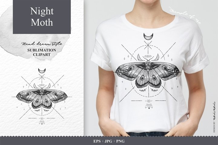Hand Drawn Night Moth High Quality Sublimation Clipart
