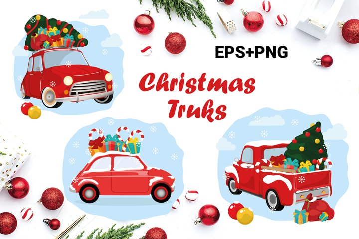Christmas Trucks, carry a Christmas tree, gifts, traditional