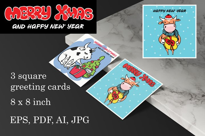 3 greeting cards in square shape
