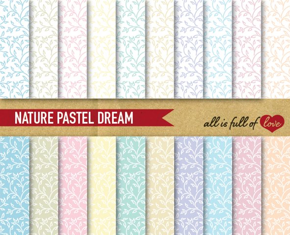 Leafs Digital Paper in Pastel Colors Hand Draw Background Patterns