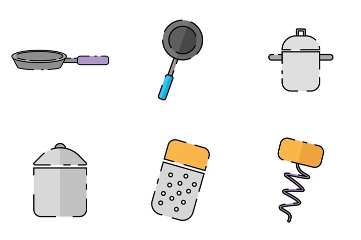 Fry Pan Rice Cooker Pan Grater Corkscrew Kitchen Icon Pack