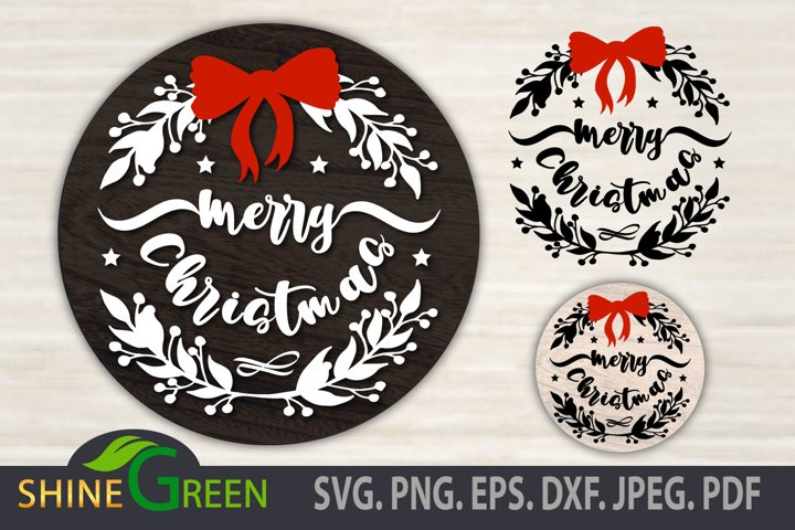 Christmas SVG - Floral Ornament Round with Red Bow Tie