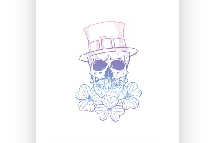 Hand drawn angry skull of leprechaun