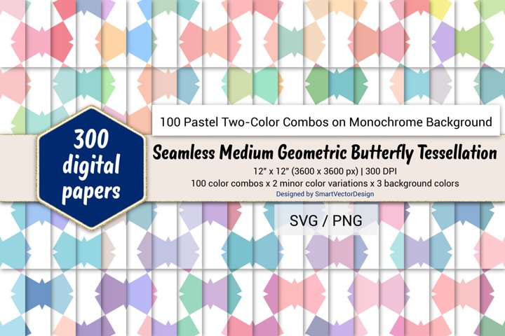 Geom Butterfly Tessellation-Pastel Two-Color Combos on BG