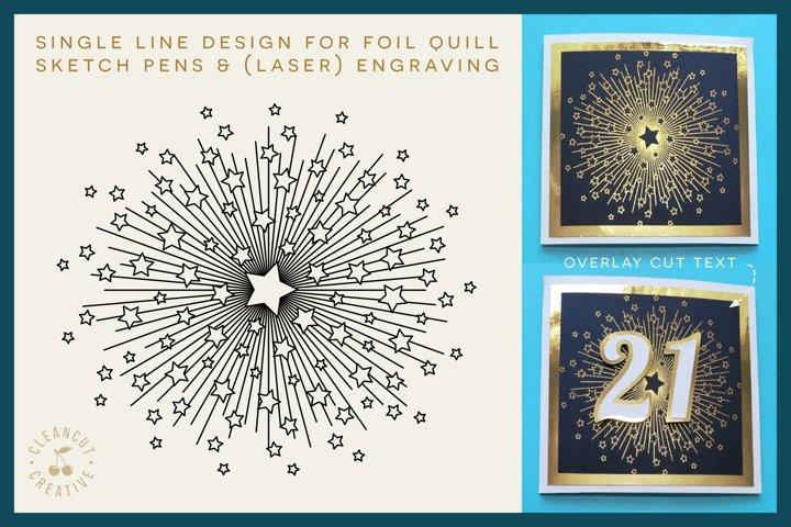 Foil Quill STARBURST single line sketch design SVG file