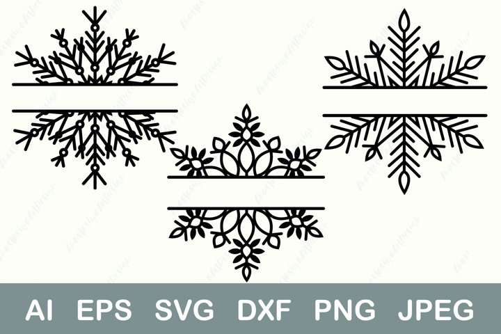 Split monogram svg, Christmas frame svg, Winter border dxf