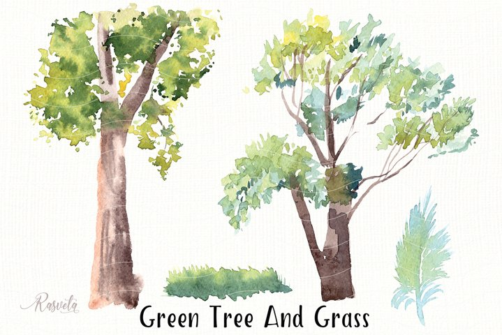 Green Tree And Grass Clipar/1