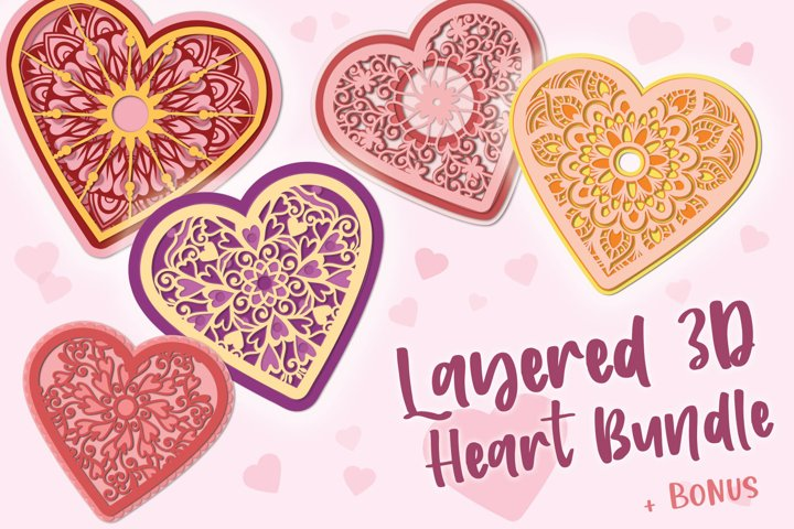 3D Layered Heart Bundle - 5 items & Bonus