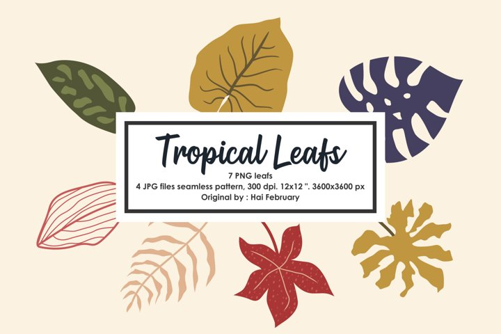 Tropical Leafs Clipart, Seamless Pattern