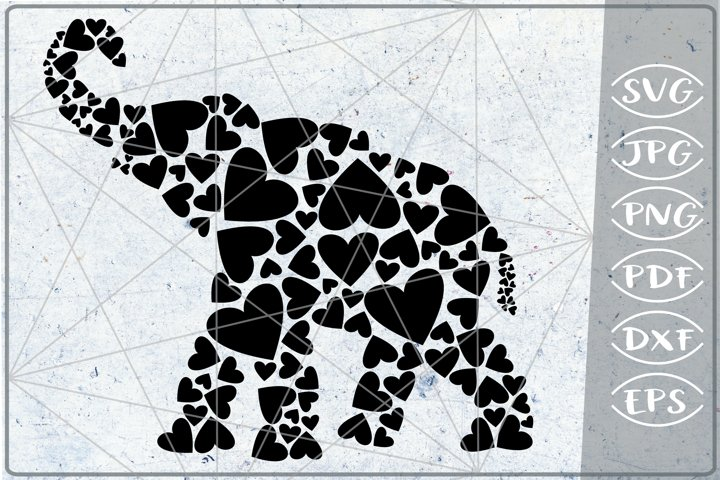Elephant Hearts Print in Heart SVG Cutting File Love Craft