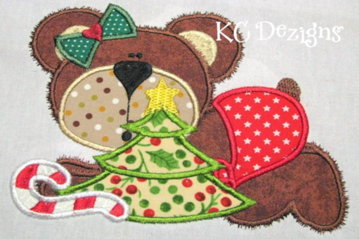 Christmas Baby Bear Machine Applique Embroidery Design