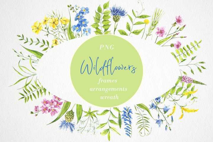 Watercolor flower clipart. Wildflowers. Wreath, frame