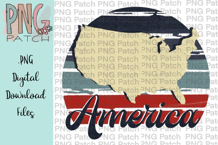 Retro Red, White, and Blue, America, USA PNG File
