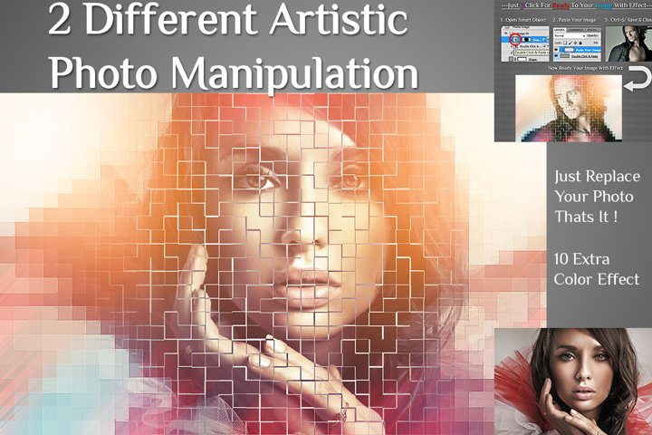 2 Different Artistic With 10 Color Effect Photo Manipulation