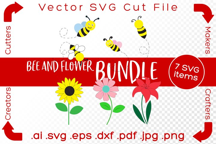 Bee and Flower Bundle SVG Bumblebee Summer Vector Cut File