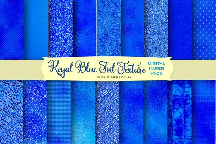 Royal Blue Foil and Glitter Textures Digital Paper