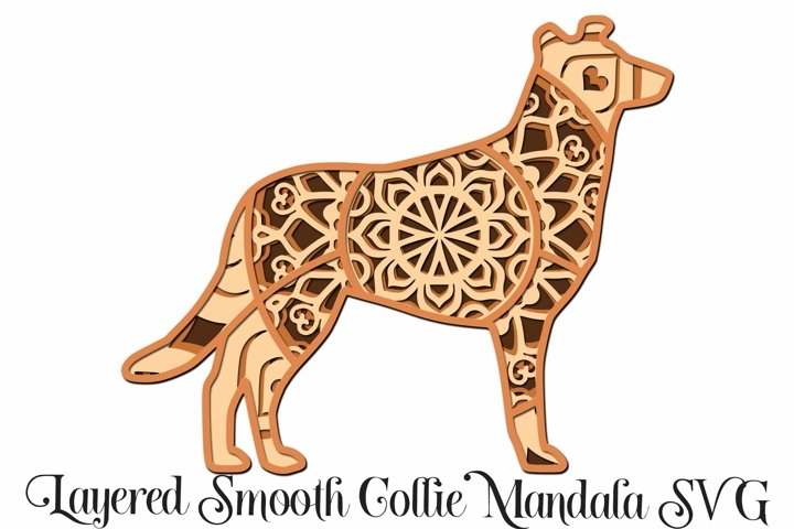 Smooth Collie Dog Mandala Layered 3D SVG - 4 Layers