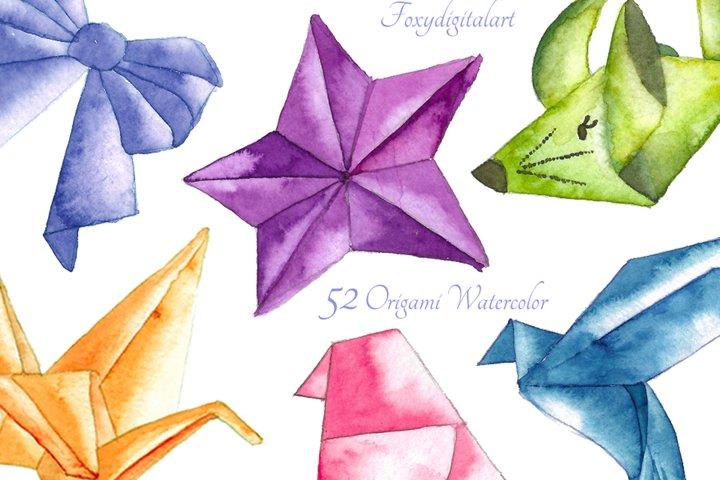 Origami Crane Watercolor Clipart