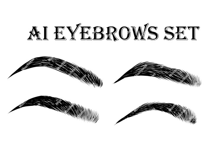 Ai set of hand drawn eyebrows
