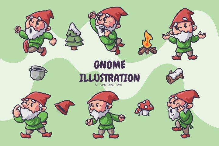 Gnome in winter illustration