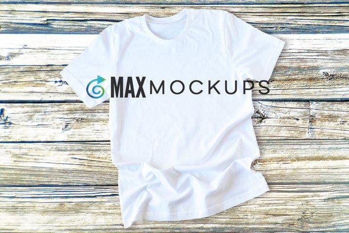 White t-shirt Mockup, women men, display, styled stock photo