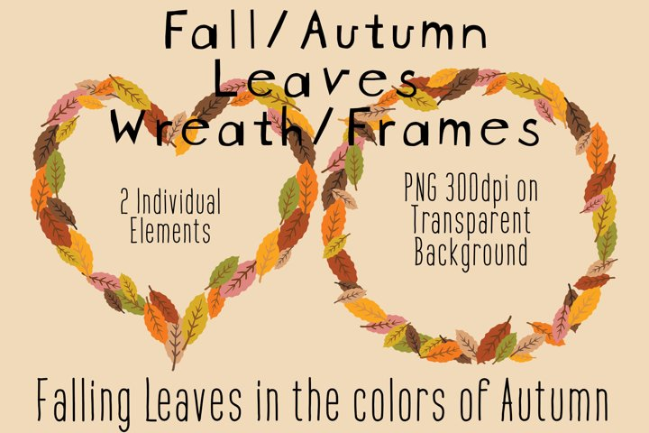 Fall Clipart Leaves Wreath Frames PNG, Autumn Leaves Colors