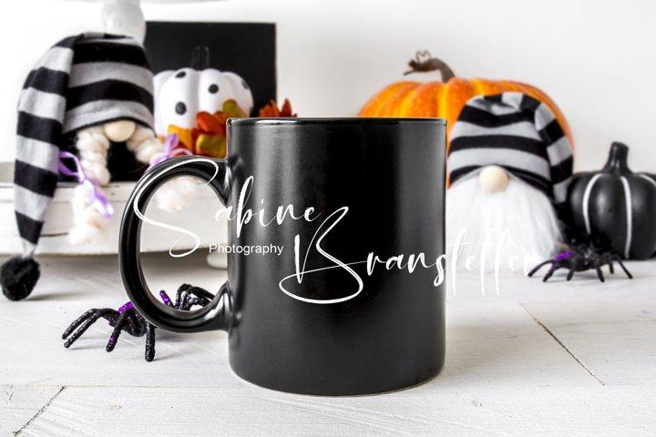 Styled Stock Photo 11oz Black Coffee Mug Halloween Mockup