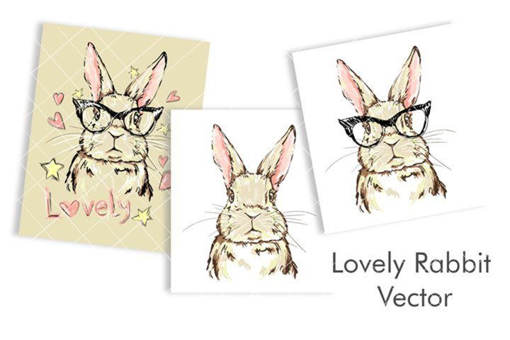 Hand Drawn Cute Bunny Vector