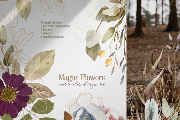 Magic Flowers - Watercolor Design Set