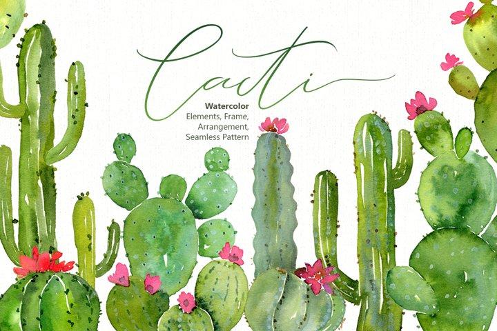 Watercolor Green Cacti Png