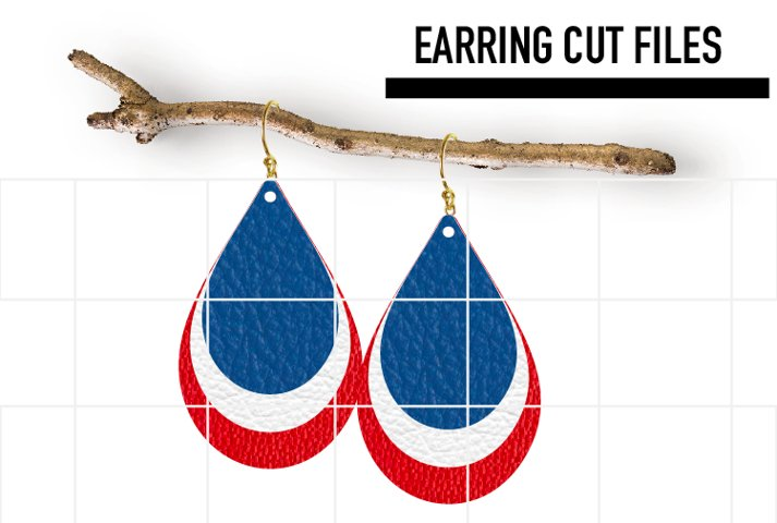 USA Layered Earrings Svg / Leather / Faux / Wood /