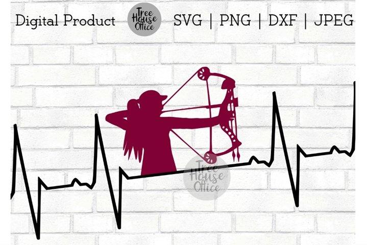 Huntress Lady Hunting Heartbeat Lifeline SVG PNG JPG DXF