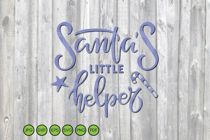 Christmas SVG. Santas little Helper Phrase for holiday baby