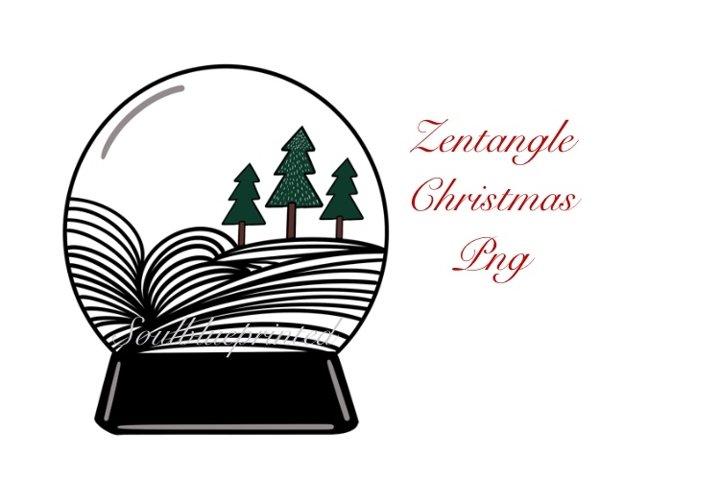 Zentangle Christmas Snow globe PNG. Doodle Art Design.