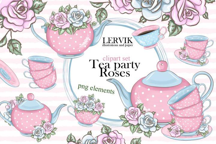 Love tea party roses clipart set