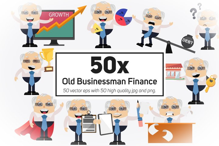 50x Old Businessman Finance and Business Collection