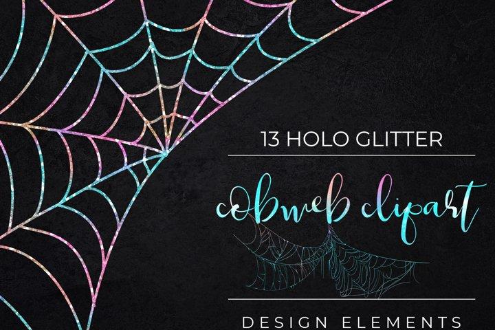 Iridescent Glitter Halloween Spider Web Clipart-Cobweb PNG