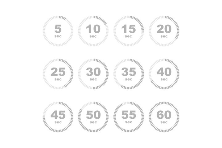 Timer stopwatch in seconds icon set