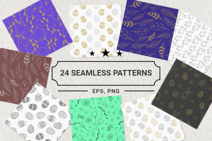 24 Easter Hand Drawn Seamless Patterns