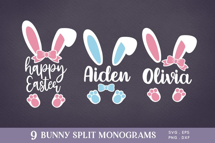 Easter Bunny Ears Split Monogram svg png eps